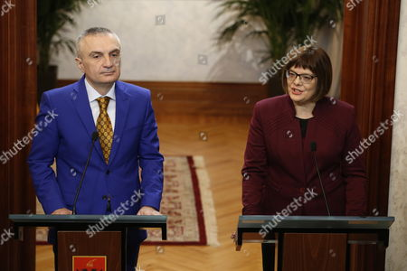 President of National Assembly of Serbia Maja Gojkovic (r) and Albanian Speaker of Parliament Ilir Meta During a Joint Press Conference Following Their Meeting in Tirana Albania 04 March 2015 Maja Gojkovic is in Tirana For a Two-day Official Visit Albania Tirana