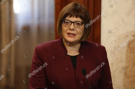 President of National Assembly of Serbia Maja Gojkovic Speaks During a Joint Press Conference with Albanian Speaker of Parliament Ilir Meta (unseen) Following Their Meeting in Tirana Albania 04 March 2015 Maja Gojkovic is in Tirana For a Two-day Official Visit Albania Tirana