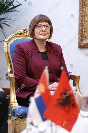 President of National Assembly of Serbia Maja Gojkovic Prior to a Meeting with Albanian Speaker of Parliament Ilir Meta (unseen) in Tirana Albania 04 March 2015 Maja Gojkovic is in Tirana For a Two-day Official Visit Albania Tirana