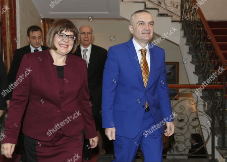 President of National Assembly of Serbia Maja Gojkovic (l) is Welcomed by Albanian Speaker of Parliament Ilir Meta Prior to Their Meeting in Tirana Albania 04 March 2015 Maja Gojkovic is in Tirana For a Two-day Official Visit Albania Tirana
