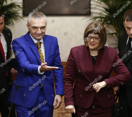 President of National Assembly of Serbia Maja Gojkovic (r) is Welcomed by Albanian Speaker of Parliament Ilir Meta Prior to Their Meeting in Tirana Albania 04 March 2015 Maja Gojkovic is in Tirana For a Two-day Official Visit Albania Tirana