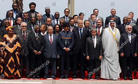 Un and Arab League Special Envoy to Syria Lakhdar Brahimi (front Row 2-l) Former South African President Thabo Mbeki (front Row 3-l) Algerian Foreign Minister Ramtan Lamamra (front Row 4-l) President of Bolivia Evo Morales (front Row 5-l) Algerian Prime Minister Abdelmalek Sellal (front Row 4-r) Iranian Foreign Minister Mohammad Javad Zarif (front Row R) Along with Other Heads and Representatives of States Pose For a Group Photo During 17th Non-aligned Movement (nam) Foreign Ministers Conference at the Palace of Nations in Algiers Algeria 28 May 2014 Algeria Algiers