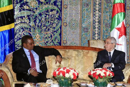President of Tanzania Jakaya Mrisho Kikwete (l) and the President of the Algerian Senate Abdelkader Bensalah (r) Talk to Each Other During a a Meeting Following Kikwete's Arrival at the Houari-boumediene International Airport in Algiers Algeria 09 May 2015 Kikwete Arrived in Algeria For a Three-day Official Visit Algeria Algiers