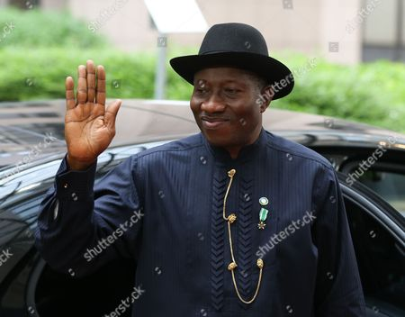 Stock Image of Nigeria's President Goodluck Ebele Jonathan Arrives at the Fourth Eu-africa Summit of Heads of States at the European Council Headquarters in Brussels Belgium 02 April 2014 Discussions at the Summit Will Focus on the Theme 'Investing in People Prosperity and Peace' Topics Will Include Education and Training Women and Youth Legal and Illegal Migrant Flows Between Both Continents Ways to Stimulate Growth and to Create Jobs Investing in Peace and in Ways to Enhance Eu Support For African Capacities in Managing Security in the Continent Belgium Brussels