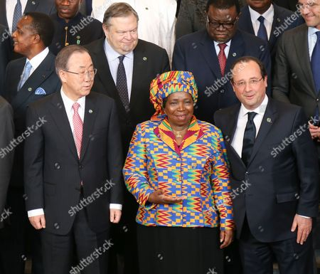 (l-r Front) United Nations Secretary General Ban Ki-moon African Union Commission President Nkosazana Clarice Dlamini Zuma and French President Francois Hollande Are Seen During the Group Photo Session at the European Council Headquarters in Brussels Belgium 02 April 2014 Discussions at the Summit Were to Focus on the Theme 'Investing in People Prosperity and Peace' Topics Included Education and Training Women and Youth Legal and Illegal Migrant Flows Between Both Continents Ways to Stimulate Growth and to Create Jobs Investing in Peace and in Ways to Enhance Eu Support For African Capacities in Managing Security in the Continent Belgium Brussels