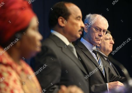 (l-r) African Union Commission President Nkosazana Clarice Dlamini Zuma African Union President Mohamed Ould Abdel Aziz Eu Council President Herman Van Rompuy and European Commission President Jose Manuel Barroso Speak During a Joint News Conference at the End of the Fourth Eu-africa Summit of Heads of States at the European Council Headquarters in Brussels Belgium 03 April 2014 Others Are not Identified Leaders From Africa and the United Nations Called For the Fight Against Climate Change to Be Stepped Up As a Summit in Brussels on Issues Affecting the Continent Drew to a Close the Summit Also Focussed on Trade Aid and Illegal Migration From Africa Into Europe a Total of 59 Heads of State Or Government From the Eu and Africa Took Part in the Summit Belgium Brussels