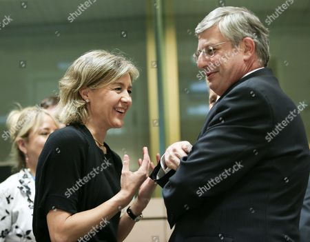 Isabel Garcia Tejerina (l) the Spanish the New Minister For Agriculture Food and Environmental Affairs Chats with the European Commissioner For Health and Consumer Policy Maltese Tonio Borg (r) at the Start of Eu Agriculture Council at the Eu Headquarters in Brussels Belgium 19 May 2014 Belgium Brussels