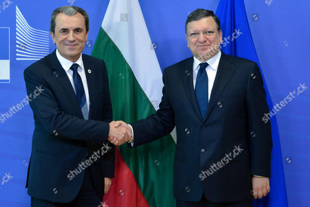 Prime Minister of Bulgaria Plamen Oresharski (l) is Welcomed by European Commission President Jose Manuel Barroso (r) Prior to a Meeting at the Eu Council Headquarters in Brussels Belgium 27 May 2014 on 27 May 28 Eu Leaders Will Gather For a Dinner at the European Council Following the Results of the European Elections Belgium Brussels