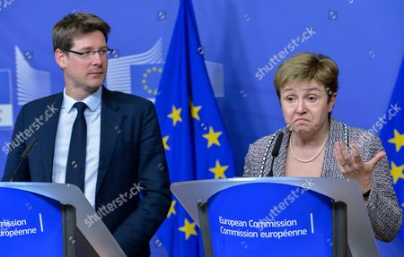 Kristalina Georgieva (r) European Commissioner For International Cooperation Humanitarian Aid and Crisis Response and Pascal Canfin (l) French Deputy Minister For Development Under the Minister of Foreign Affairs Deliver a Press Conference After the Meeting on Humanitarian Action in the Central African Republic Held at the Eu Headquarters in Brussels Belgium 20 January 2014 Eu Foreign Ministers Agreed to Send Troops to the Central African Republic For Up to Six Months in a Mission Aimed at Supporting African Union Peacekeepers in and Around the Capital Bangui an Eu Diplomat Says Belgium Brussels
