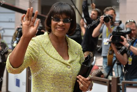 Jamaican Prime Minister Portia Simpson Miller Arrives at European Union and of the Community of Latin American and Caribbean States (celac) Summit in Brussels Belgium 10 June 2015 Eu-celac Summits Bring Together 61 European Latin American and Caribbean Leaders to Strengthen Relations Between Both Regions Belgium Brussels