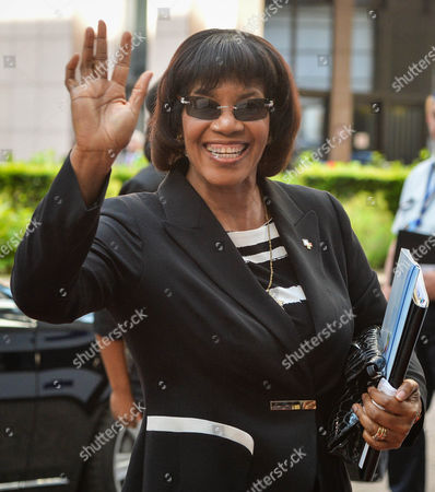 Stock Photo of Jamaican Prime Minister Portia Simpson Miller Arrives at the Second Day of the European Union and of the Community of Latin American and Caribbean States (celac) Summit in Brussels Belgium 11 June 2015 the Eu-celac Summit Brings Together 61 European Latin American and Caribbean Leaders to Strengthen Relations Between Both Regions Belgium Brussels