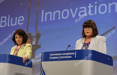 European Commissioner in Charge of Fisheries and Maritime Affairs Maria Damanaki (l) and European Commissioner in Charge of Research and Innovation Maire Geoghegan-quinn (r) Hold a Joint Press Conference on Blue Economy at the Eu Commission Headquarters in Brussels Belgium 08 May 2014 Commissionners Presented an Action Plan For Innovation in the 'Blue Economy' the Action Plan Identifies a Number of Hurdles to Be Overcome in Order to Use the Oceans in a Responsible Manner Belgium Brussels