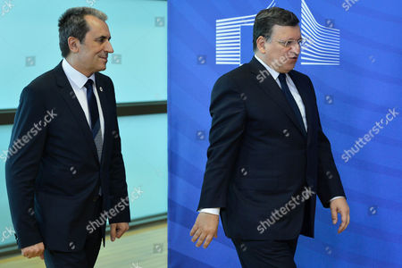 Prime Minister of Bulgaria Plamen Oresharski is Welcomed by European Commission President Jose Manuel Barroso (r) Prior to Meeting at the Eu Council Headquarters in Brussels Belgium 27 May 2014 Later Today Prime Minister of Bulgaria Plamen Oresharski Will Attend Informal European Council the Meeting of the Heads of States and Government Will Discuss the Results of the European Parliament's Elections and the Latest Developments in Ukraine Following the Presidential Elections Belgium Brussels