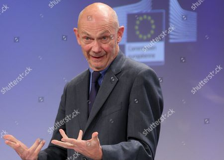 Stock Picture of Former Wto President and Honorary President of Notre Europe - Jacques Delors Institute Pascal Lamy Gives a Press Conference After the Uhf Spectrum Band High Level Group First Meeting at the Eu Headquarters in Brussels Belgium 13 January 2014 Pascal Lamy and Top Executives From Europe's Broadcasters Network Operators Mobile Companies and Tech Associations Have Been Given Six Months to Make Proposals to the European Commission on How to Use the Uhf Spectrum Band (470-790 Mhz) Most Effectively in Coming Decades in the Face of a Rapid and Massive Growth in Demand For Spectrum As Consumers Demand New Broadcast and Internet Options Digital Commissioner Neelie Kroes is Asking For Quick Results: a Final Report Will Be Delivered by July 2014 Belgium Brussels