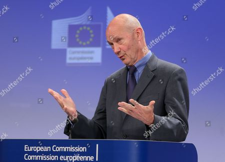 Former Wto President and Honorary President of Notre Europe - Jacques Delors Institute Pascal Lamy Gives a Press Conference After the Uhf Spectrum Band High Level Group First Meeting at the Eu Headquarters in Brussels Belgium 13 January 2014 Pascal Lamy and Top Executives From Europe's Broadcasters Network Operators Mobile Companies and Tech Associations Have Been Given Six Months to Make Proposals to the European Commission on How to Use the Uhf Spectrum Band (470-790 Mhz) Most Effectively in Coming Decades in the Face of a Rapid and Massive Growth in Demand For Spectrum As Consumers Demand New Broadcast and Internet Options Digital Commissioner Neelie Kroes is Asking For Quick Results: a Final Report Will Be Delivered by July 2014 Belgium Brussels