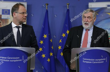 Stock Image of Eu Commissioner-designate in Charge of Education Culture Youth and Citizenship Tibor Navracsics (l) From Hungary and Austrian Franz Fischler (r) Chairman of the Expo 2015 Eu Scientific Steering Committee Speak During a Joint News Conference at the Eu Commission Headquarters in Brussels 13 April 2015 the European Commission Launches an Online Consultation on How Science and Innovation Can Help the Eu Ensure Safe Nutritious Sufficient and Sustainable Food Globally with a Discussion Linked to the Universal Exhibition Expo2015 Belgium Brussels