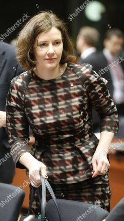 Minister of the Economy of Latvia Dana Reizniece-ozola at the Start of Council of Eu Ministers in Charge Competitivness at Eu Council Headquarters in Brussels Belgium 28 May 2015 Belgium Brussels