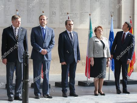 (l-r) Slovakian Prima Minister Robert Fico Greek Prime Minister Antonis Samaras Bulgarian Prime Minister Plamen Oresharski Latvian Prime Minister Laimdota Straujuma and Italian Prime Minister Matteo Renzi Attend a Ceremony Marking the Centenary of the Outbreak of World War i in Ypres Belgium 26 June 2014 During the War Hundreds of Thousands of Soldiers and Civilians From All Over the World Lost Their Lives Around the Belgian Town of Ypres to Mark the Occasion the European Union is Donating a Symbolic Bench with Bronzed Copper Plates Reading the Word 'Peace' in the Eu's 24 Official Languages Belgium Ypres