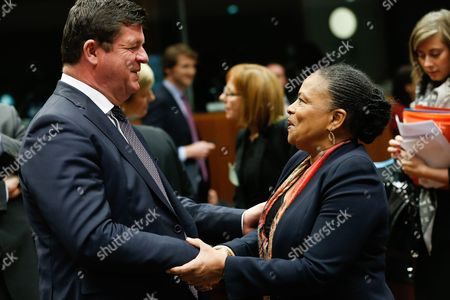 Belgium State Secretary For Social Fraud Privacy and the North Sea Bart Tommelein (l) and French Justice Minister Christiane Taubira (r) at the Start of a Justice and Home Affairs Counci Meeting at the Eu Council Headquarters in Brussels Belgium 13 March 2015 the Council Will Discuss the Data Protection Regulation on the Principles For Processing the Personal Data Belgium Brussels
