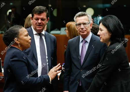 (l-r) French Justice Minister Christiane Taubira Belgium State Secretary For Social Fraud Privacy and the North Sea Bart Tommelein German Minister of the Interior Thomas De Maiziere and Eu Commissioner-designate For Justice Consumer and Gender Equality Vera Jourova at the Start of a Justice and Home Affairs Counci Meeting at the Eu Council Headquarters in Brussels Belgium 13 March 2015 the Council Will Discuss the Data Protection Regulation on the Principles For Processing the Personal Data Belgium Brussels