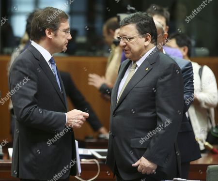 Portuguese Prime Minister Pedro Passos Coelho (l) and European Commission President Jose Manuel Barroso Talk Before the Start of a Working Session During the Second Day of the European Leaders Summit at Eu Council Headquaters in Brussels Belgium 27 June 2014 the Agreements That Ukraine Georgia and Moldova Sign with the European Union's 28 Leaders Set the Stage For Closer Political Ties and Free Trade Belgium Brussels