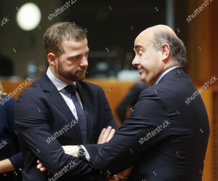 Danish Finance Minister Morten Ostergaard (l) and Spanish Minister of Economy Luis De Guindos at Start of an Ecofin: European Finance Ministers Meeting at Eu Council Headquarters in Brussels Belgium 10 March 2015 Belgium Brussels