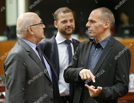(l-r) French Finance Minister Michel Sapin Danish Finance Minister Morten Ostergaard and Greek Finance Minister Yanis Varoufakis at Start of Ecofin: European Finance Ministers Meeting at Eu Council Headquarters in Brussels Belgium 10 March 2015 Belgium Brussels