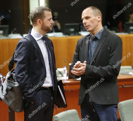 Danish Finance Minister Morten Ostergaard (l) and Greek Finance Minister Yanis Varoufakis Talk at the Start of Ecofin: European Finance Ministers Meeting at Eu Council Headquarters in Brussels Belgium 10 March 2015 Belgium Brussels