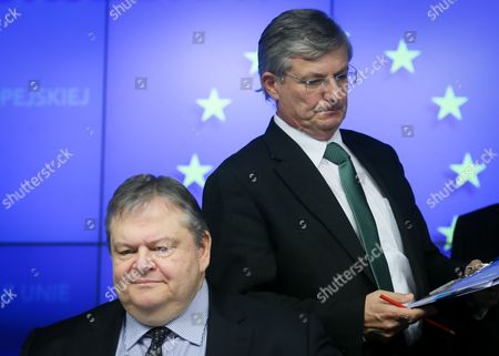 Greek President of the General Affairs Council Foreign Minister Evangelos Venizelos (l) and European Commissioner For Health and Consumer Policy Maltese Tonio Borg (r) Give a Press Briefing at the End of a European General Affairs Council at Eu Headquarters in Brussels Belgium 11 February 2014 the Ministers Mainly Focus Their Discussions on the Authorisation of the Placing of the Market For Cultivation Purposes of the Genetically Modified Maize 1507 Belgium Brussels