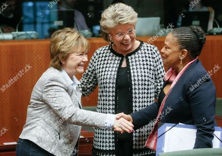 (l-r) Swedish Justice Minister Beatrice Ask Viviane Reding the Vice-president of the European Commisssion in Charge of Justice and French Justice Minister Christiane Taubira (r) Greet Each Other at the Start of a European Interior and Home Affairs Ministers Council Meeting at the European Headquarters in Brussels Belgium 04 March 2014 Belgium Brussels