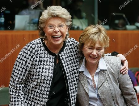 Viviane Reding (l) the Vice-president of the European Commisssion in Charge of Justice and Swedish Justice Minister Beatrice Ask (r) Hug Each Other at the Start of a European Interior and Home Affairs Ministers Council Meeting at the European Headquarters in Brussels Belgium 04 March 2014 Belgium Brussels