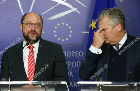 European Parliament President Martin Schulz (l) Gives a Joint Press Conference with Former President of Poland Aleksander Kwasniewski (r) and Former President of the European Parliament Pat Cox (not Pictured) on the Latest Development on Ukraine at the European Parliament in Brussels Belgium 04 December 2013 Belgium Brussels