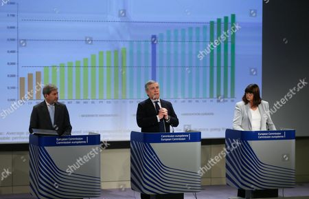 Eu Industry and Entrepreneurship Commissioner Antonio Tajani (c) From Italy with Johannes Hahn (l) the Commissioner in Charge of Regional Policy and Commissioner For Research Innovation and Science Maire Geoghegan-quinn (r) From Ireland Present the Results of the Innovation Union Scoreboard and Regional Innovation Scoreboard at the Eu Commission Headquarters in Brussels Belgium 04 March 2014 the Commission Announced That It Has Adopted Its Final Simplification Scoreboard with Over 120 Measures to Simplify the Eu Funding Rules For Europe's Businesses Towns Regions Scientists and Ngos Together with the Adoption of the 2014-2020 Multiannual Financial Framework (mff) and of the Sectoral Funding Programmes Much Has Been Achieved in Terms of Making Access to Eu Funds Simpler For Would-be Beneficiaries However the Eu Institutions and Member States Must Continue to Deliver on Simplification Through the Adoption of the Necessary Implementing and Technical Measures the Commission Said Belgium Brussels
