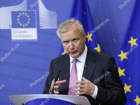 European Commission Responsible For the Economic and Monetary Affairs and the Euro Olli Rehn of Finland Speaks During a Press Briefing to Present the Commission's Points on Innovation Reforms to Sustain Economic Recovery at the Eu Commission Headquarters in Brussels Belgium 10 June 2014 the European Commission Has Highlighted the Importance of Research and Innovation (r&i) Investments and Reforms For Economic Recovery in the European Union on 10 June and Made Proposals to Help Eu Member States Maximise the Impact of Their Budgets at a Time when Many Countries Still Face Spending Constraints Belgium Brussels