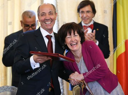 Belgian Minister For Health Laurette Onkelinx (r) and His Moroccan Counterpart Abdesslam Seddiki (l) Enjoy a Light Moment During the Signing Ceremony After the High Joint Commission Belgo Moroccan Partnership at the Egmont Palace in Brussels Belgium 18 February 2014 the High Commission Whose First Meeting was Held March 19 2007 in Marrakech Aimed to Address the Entire Scope of Bilateral Relations and Also to Rough Tracks For the Future with the Development Cooperation and Political Dialogue But Also in Terms of Relations of Employment and Social Affairs Justice and Home Affairs As Well As Field of Gender Equality Belgium Brussels