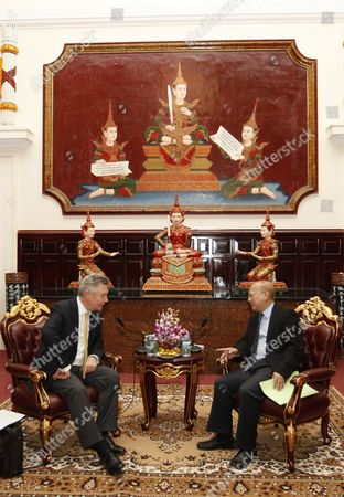 European Commissioner For Trade Karel De Gucht (l) Attends a Meeting with Cambodian Minister of Justice Ang Vong Vathana (r) in Phnom Penh Cambodia 18 March 2014 Karel De Gucht Makes an Official Visit to Cambodia to Tighten Ties and Cooperation Between the European Union and Cambodia Cambodia Phnom Penh
