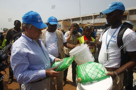 The High Commissioner of the Un Unhcr Antonio Guterres (l) Visits a Refugee Camp For Internally Displaced Persons at the Airport of Mpoko in Bangui Central African Republic 12 February 2014 Thousands Have Been Killed and One Million Displaced in the Past 13 Months After the Mainly Muslim Armed Opposition Alliance Seleka Rose Up Against the Government and Overthrew President Francois Bozize a Christian in March 2013 Bozize's Muslim Successor Michel Djotodia was Pressured to Cede Power in January But the Election of Catherine Samba-panza a Christian As Interim President Has Been Unable to Stem the Violence Central African Republic Bangui