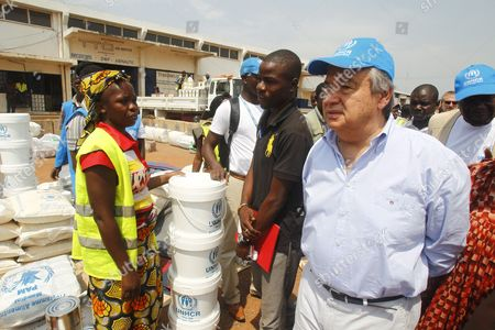 The High Commissioner of the Un Unhcr Antonio Guterres (r) Visits a Refugee Camp For Internally Displaced Persons at the Airport of Mpoko in Bangui Central African Republic 12 February 2014 Thousands Have Been Killed and One Million Displaced in the Past 13 Months After the Mainly Muslim Armed Opposition Alliance Seleka Rose Up Against the Government and Overthrew President Francois Bozize a Christian in March 2013 Bozize's Muslim Successor Michel Djotodia was Pressured to Cede Power in January But the Election of Catherine Samba-panza a Christian As Interim President Has Been Unable to Stem the Violence Central African Republic Bangui