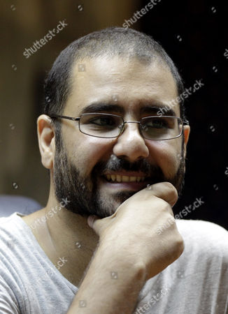 Egyptian Activist Alaa Abdel-fatah Attends a Press Conference Launching a Campaign Called 'Against Protest Law' Against Egypt's Protest Laws at the Press Syndicate Cairo Egypt 17 September 2014 According to Local Sources Campaigners Plan to Use All Peaceful Means to Protest the Law Implemented Under the Interim Presidency of Adly Mansour in Novermber 2013 Which Led to the Imprisonment of Many Deemed to Have Borken the Law who Receieved Long Prison Sentences Including Abdel Fatah who Along with Many Other Detainees Began a Hunger Strike in Protest Which Has Been Joined by Activists Supporting Their Cause Egypt Cairo