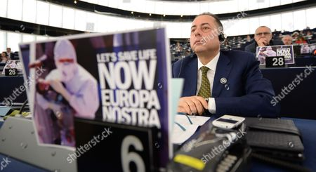 Gianni Pitella From the Group of the Progressive Alliance of Socialists and Democrats in the European Parliament Sits Behind a Placard with the Words 'Let's Save Life Now Europa Nostra' During the Plenary Session in the European Parliament in Strasbourg France 29 April 2015 the House Discuss About the Latest Tragedies in the Mediterranean and Eu Migration and Asylum Policies France Strasbourg