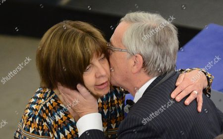 Parliamentary Party Leader of the Greens in the European Parliament Rebecca Harms (l) Congratulates Jean-claude Juncker (r) on His Formal Appointment As President of the European Commission in the Plenary Session in the European Parliament in Strasbourg France 15 July France Strasbourg