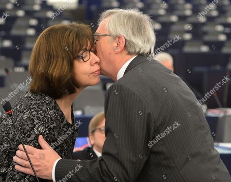 Jean-claude Juncker (r) President of the European Commission Greets German Rebecca Harms (l) Member of the European Parliament For Alliance 90/the Greens Before His Speech During the Plenary Session at European Parliament in Strasbourg France 11 March 2015 About the Preparations For the European Council Meeting France Strasburg