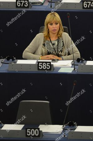Italy's Alessandra Mussolini From the Group of the European People's Party (christian Democrats) Waits For the Start of the Second Day of Plenary Session at the European Parliament in Strasbourg France 02 July 2014 Members of the Parliament Debate the Outcome of the European Summit and the Candidacy of Former Luxembourg Prime Minister Jean-claude Juncker For the Post of the European Commission President to Replace Outgoing Jose Manuel Barroso of Portugal France Strasbourg