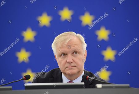 Vice President and Outgoing Eu Economy Commissioner Olli Rehn Attends a Debate About the Eu-ukraine Association Agreement in the European Parliament in Strasbourg France 16 September 2014 the Parliaments of Ukraine and the European Union Were Set 16 September to Ratify a Landmark Political and Free Trade Deal But Some Lawmakers Expressed Displeasure Over a Delay in the Agreement the Eu and Ukraine Agreed 12 September to Postpone the Implementation of the Deal's Trade Component Until the End of 2015 Following Talks with Russia Moscow Had Expressed Concerns That the Trade Pact Could Negatively Impact Its Economy France Strasbourg