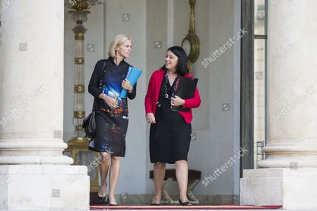 French Housing Minister Sylvia Pinel (r) and French Minister For Disabled People and the Fight Against Exclusion Segolene Neuville (l) Leave After a Cabinet Meeting in Paris France 25 September 2014 French President Francois Hollande Said That the Beheading of a French Hostage in Algeria Gives New Urgency to Stop Terrorism and Called on Un Member States to Support the Fight France Paris