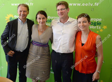 Belgian Philippe Lamberts (l) Group of the Greens/european Free Alliance Co-chair Europe Ecologie-les Verts (eelv) Europe Ecology the Greens Green Party French Parliament Member and Former French Minister Cecile Duflot (2-l) with Former French Minister Minister Pascal Canfin (2-r) and German Politician a Member of the European Parliament For the Alliance '90/the Greens Ska Keller (r) Take Part in a Meeting During Summer Days Ecologists in Pessac Near Bordeaux France 22 August 2014 the Event Running 21-23 August 2014 is to Discuss to Exchange and to (re-)discover the History of Ecology France Pessac