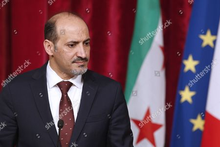President of the National Coalition of Syrian Revolutionary and Opposition Forces Ahmad Al-jarba Speaks to the Press After His Meeting with French President Francois Hollande (not Pictured) at the Elysee Palace in Paris France 20 May 2014 Ahmad Al-jarba is on an Official Visit to Paris France Paris