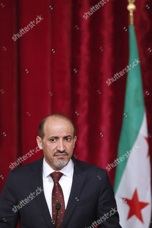 Stock Photo of President of the National Coalition of Syrian Revolutionary and Opposition Forces Ahmad Al-jarba Speaks to the Press After His Meeting with French President Francois Hollande (not Pictured) at the Elysee Palace in Paris France 20 May 2014 Ahmad Al-jarba is on an Official Visit to Paris France Paris
