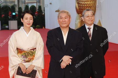 Kanako Higuchi, Takeshi Kitano and Masayuki Mori