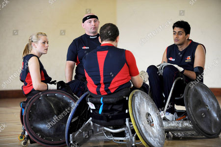 Josie Pearson (left), the only female player in the GB wheelchair rugby team for the Beijing Paralympics, during a training session.
